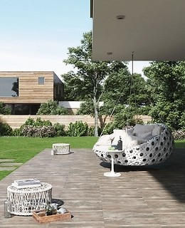 Terrace arranged with gres tiles Wood 2.0 Brown from Opoczno